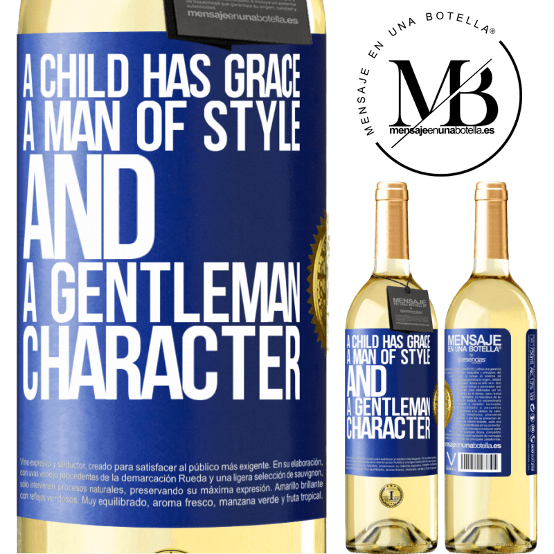24,95 € Free Shipping | White Wine WHITE Edition A child has grace, a man of style and a gentleman, character Blue Label. Customizable label Young wine Harvest 2020 Verdejo