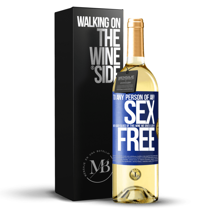 24,95 € Free Shipping | White Wine WHITE Edition To any person of any SEX with each glass of this wine we give a lid for FREE Blue Label. Customizable label Young wine Harvest 2020 Verdejo