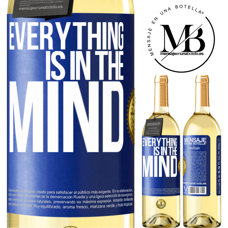 24,95 € Free Shipping | White Wine WHITE Edition Everything is in the mind Blue Label. Customizable label Young wine Harvest 2020 Verdejo
