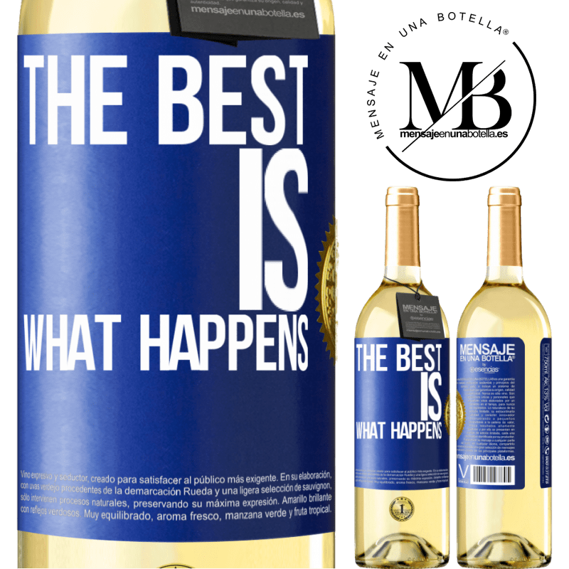 24,95 € Free Shipping | White Wine WHITE Edition The best is what happens Blue Label. Customizable label Young wine Harvest 2020 Verdejo