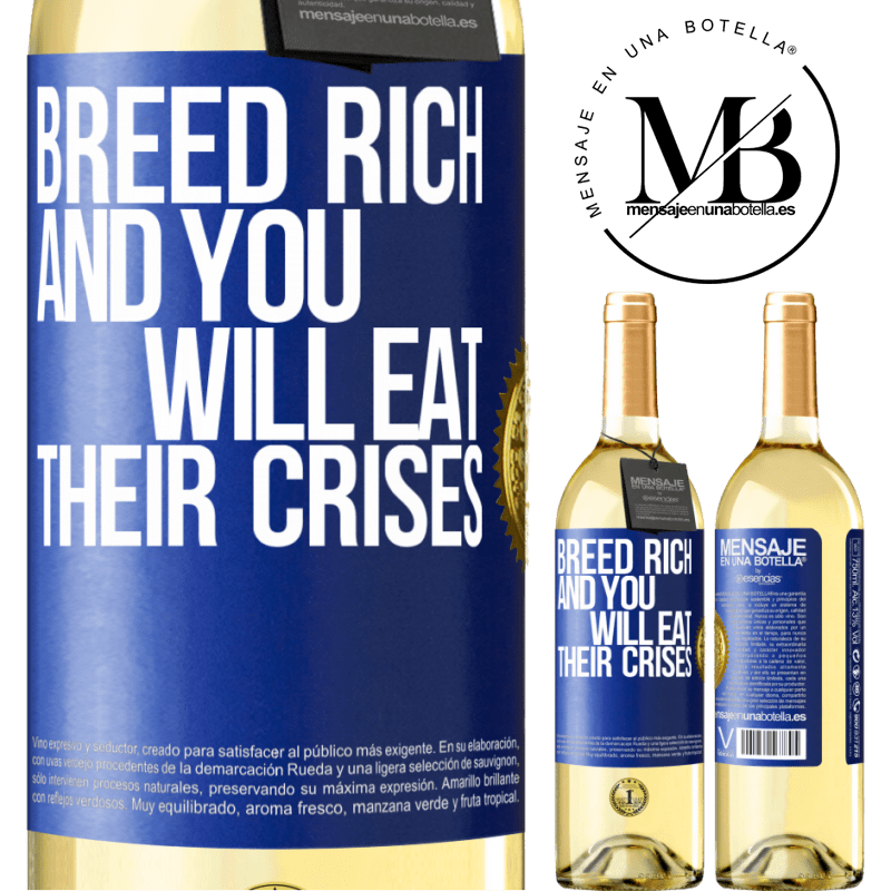 24,95 € Free Shipping | White Wine WHITE Edition Breed rich and you will eat their crises Blue Label. Customizable label Young wine Harvest 2020 Verdejo