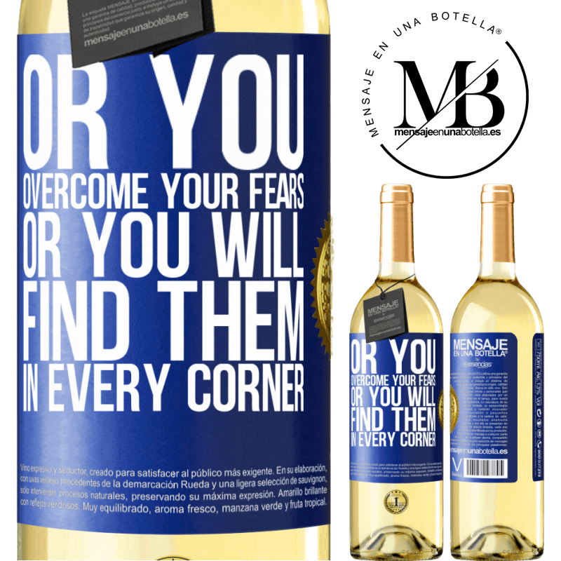 24,95 € Free Shipping | White Wine WHITE Edition Or you overcome your fears, or you will find them in every corner Blue Label. Customizable label Young wine Harvest 2020 Verdejo