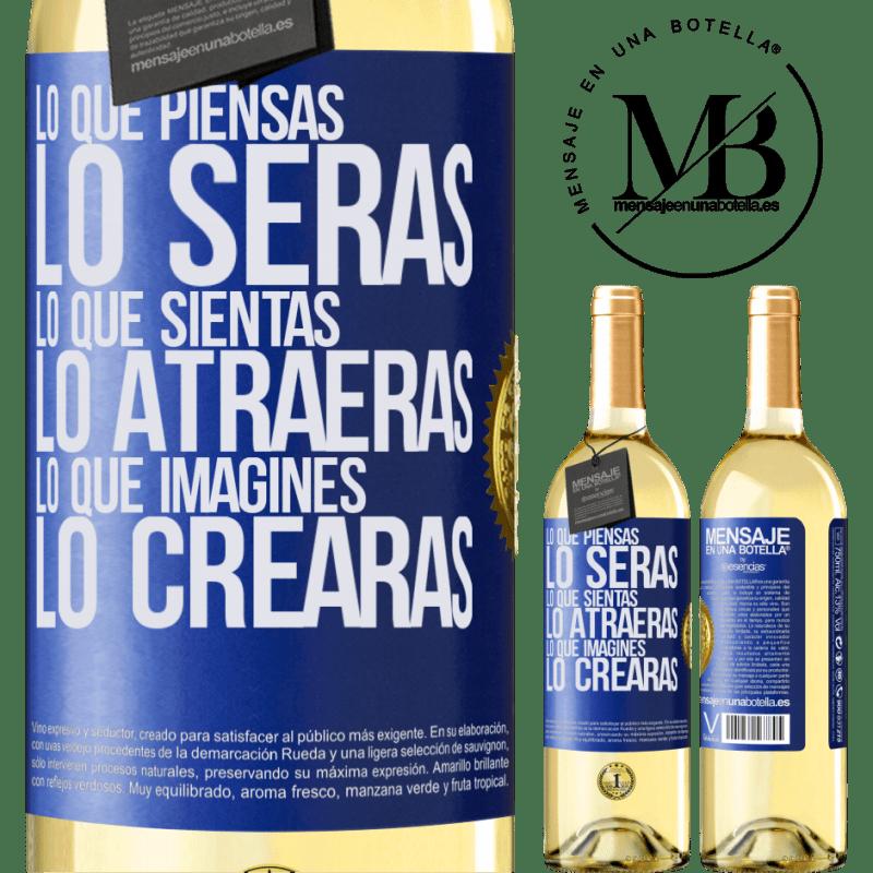 24,95 € Envío gratis   Vino Blanco Edición WHITE Lo que piensas lo serás, lo que sientas lo atraerás, lo que imagines lo crearas Etiqueta Azul. Etiqueta personalizable Vino joven Cosecha 2020 Verdejo