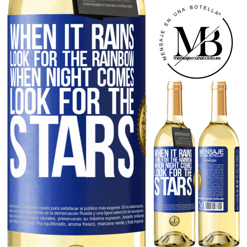 24,95 € Free Shipping   White Wine WHITE Edition When it rains, look for the rainbow, when night comes, look for the stars Blue Label. Customizable label Young wine Harvest 2020 Verdejo