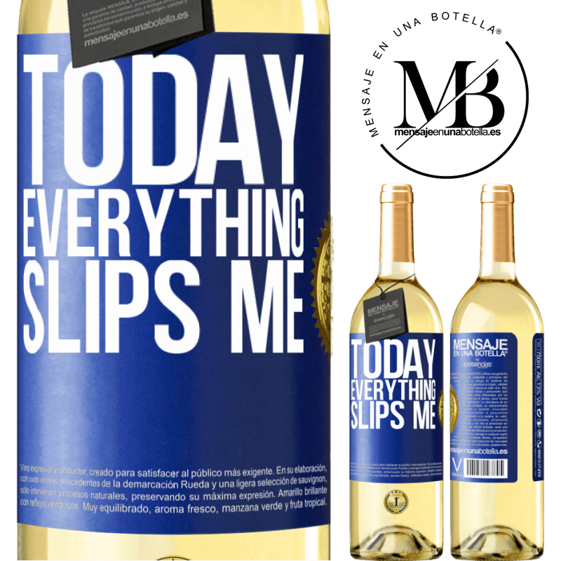 24,95 € Free Shipping | White Wine WHITE Edition Today everything slips me Blue Label. Customizable label Young wine Harvest 2020 Verdejo