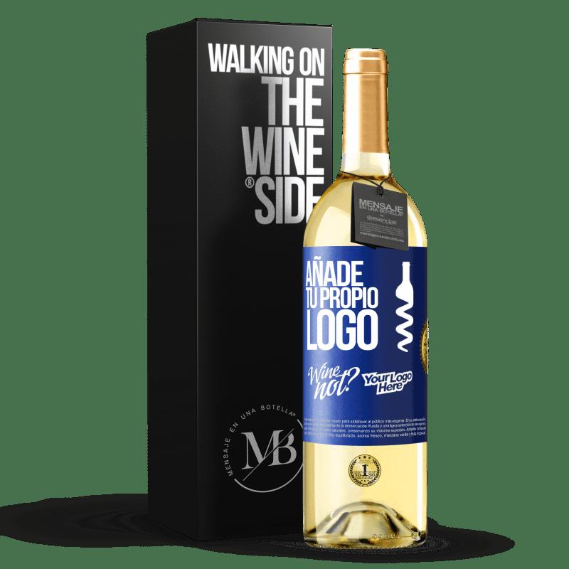 24,95 € Envío gratis | Vino Blanco Edición WHITE Añade tu propio logo Etiqueta Azul. Etiqueta personalizable Vino joven Cosecha 2020 Verdejo