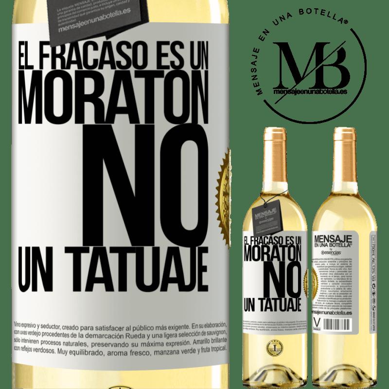 24,95 € Envoi gratuit   Vin blanc Édition WHITE L'échec est une ecchymose, pas un tatouage Étiquette Blanche. Étiquette personnalisable Vin jeune Récolte 2020 Verdejo