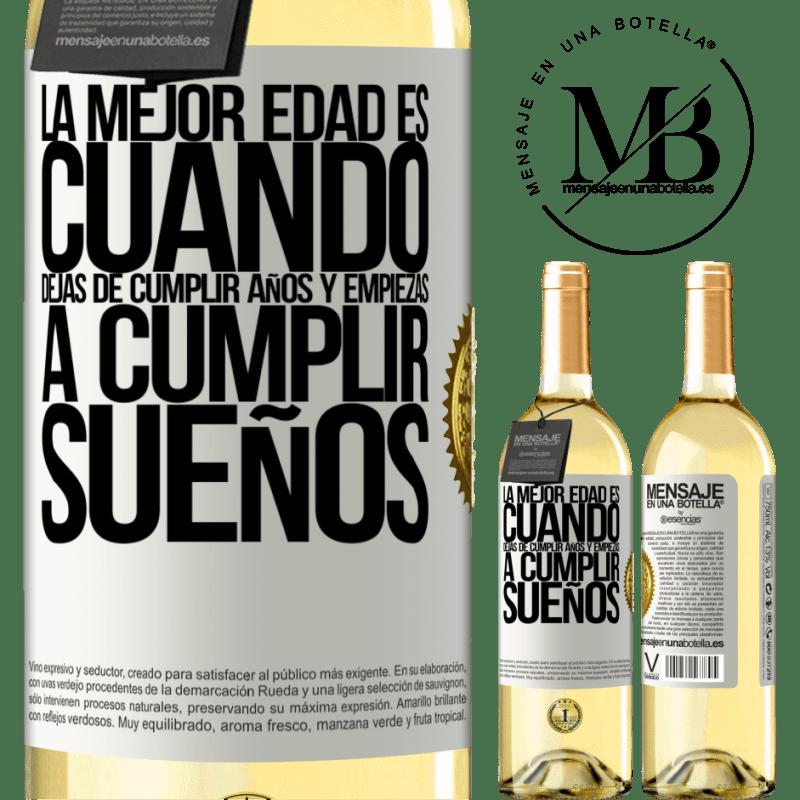24,95 € Envoi gratuit   Vin blanc Édition WHITE Le meilleur âge, c'est quand vous arrêtez de tourner les années et commencez à réaliser vos rêves Étiquette Blanche. Étiquette personnalisable Vin jeune Récolte 2020 Verdejo