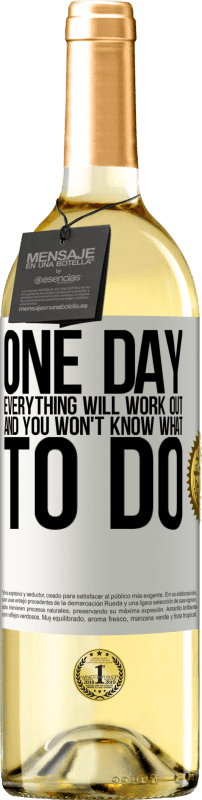 24,95 € Free Shipping   White Wine WHITE Edition One day everything will work out and you won't know what to do White Label. Customizable label Young wine Harvest 2020 Verdejo