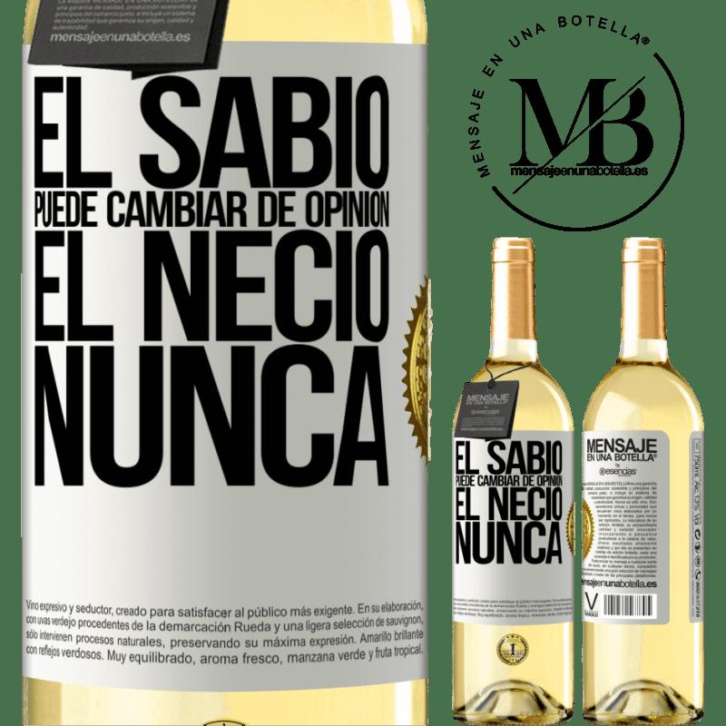 24,95 € Envío gratis   Vino Blanco Edición WHITE El sabio puede cambiar de opinión. El necio, nunca Etiqueta Blanca. Etiqueta personalizable Vino joven Cosecha 2020 Verdejo