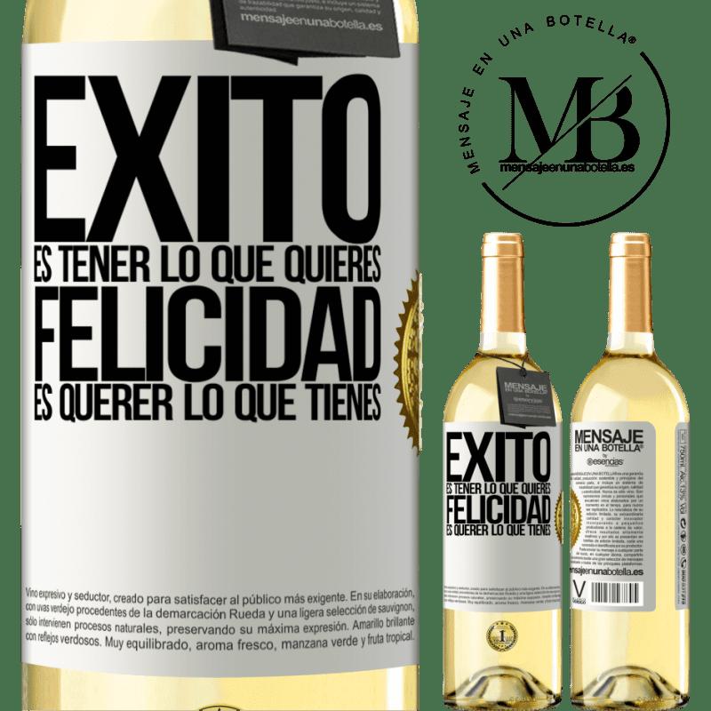24,95 € Envío gratis | Vino Blanco Edición WHITE Éxito es tener lo que quieres. Felicidad es querer lo que tienes Etiqueta Blanca. Etiqueta personalizable Vino joven Cosecha 2020 Verdejo