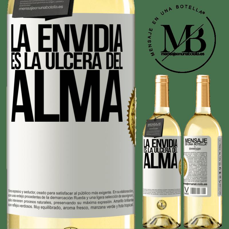 24,95 € Envío gratis | Vino Blanco Edición WHITE La envidia es la úlcera del alma Etiqueta Blanca. Etiqueta personalizable Vino joven Cosecha 2020 Verdejo