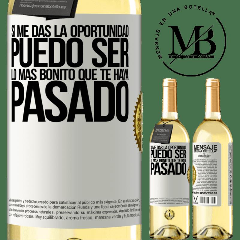 24,95 € Envío gratis | Vino Blanco Edición WHITE Si me das la oportunidad, puedo ser lo más bonito que te haya pasado Etiqueta Blanca. Etiqueta personalizable Vino joven Cosecha 2020 Verdejo