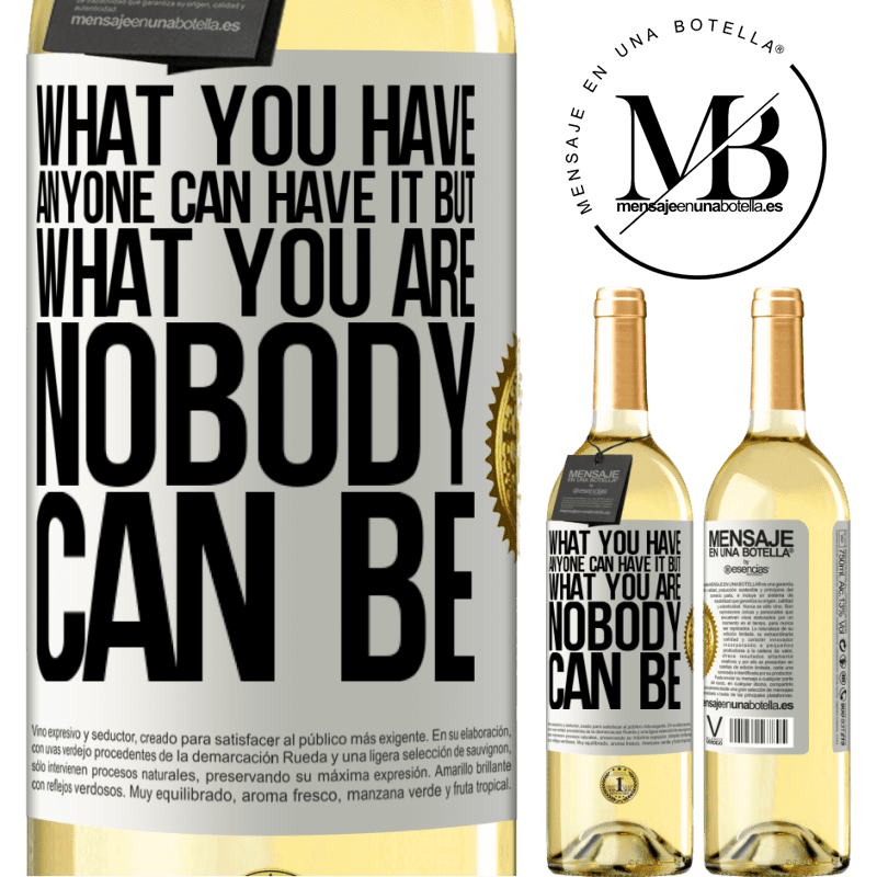24,95 € Free Shipping | White Wine WHITE Edition What you have anyone can have it, but what you are nobody can be White Label. Customizable label Young wine Harvest 2020 Verdejo