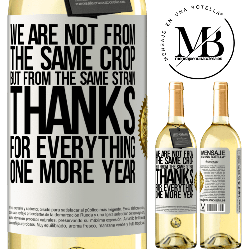 24,95 € Free Shipping | White Wine WHITE Edition We are not from the same crop, but from the same strain. Thanks for everything, one more year White Label. Customizable label Young wine Harvest 2020 Verdejo