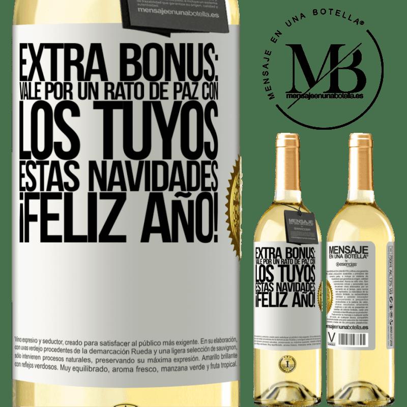 24,95 € Envío gratis   Vino Blanco Edición WHITE Extra Bonus: Vale por un rato de paz con los tuyos estas navidades. Feliz Año! Etiqueta Blanca. Etiqueta personalizable Vino joven Cosecha 2020 Verdejo