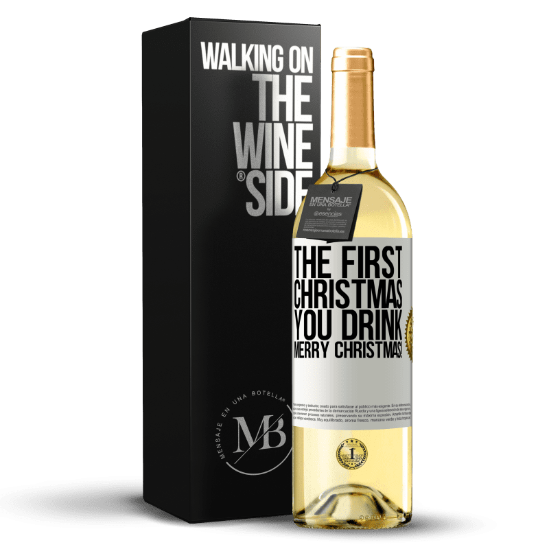 24,95 € Free Shipping | White Wine WHITE Edition The first Christmas you drink. Merry Christmas! White Label. Customizable label Young wine Harvest 2020 Verdejo