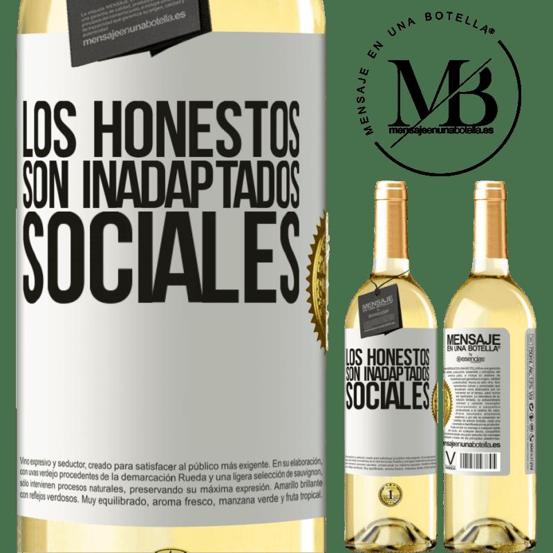 24,95 € Envío gratis | Vino Blanco Edición WHITE Los honestos son inadaptados sociales Etiqueta Blanca. Etiqueta personalizable Vino joven Cosecha 2020 Verdejo