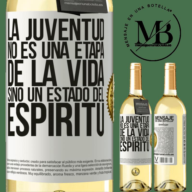 24,95 € Envío gratis | Vino Blanco Edición WHITE La juventud no es una etapa de la vida, sino un estado del espíritu Etiqueta Blanca. Etiqueta personalizable Vino joven Cosecha 2020 Verdejo