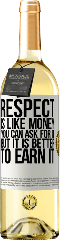 24,95 € Free Shipping   White Wine WHITE Edition Respect is like money. You can ask for it, but it is better to earn it White Label. Customizable label Young wine Harvest 2020 Verdejo