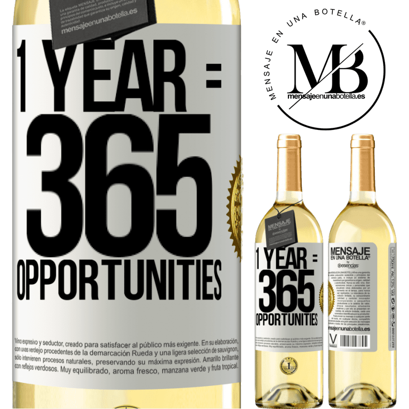 24,95 € Free Shipping | White Wine WHITE Edition 1 year 365 opportunities White Label. Customizable label Young wine Harvest 2020 Verdejo