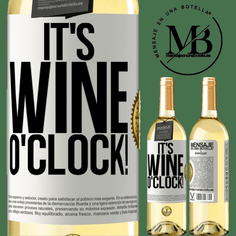 24,95 € Envío gratis | Vino Blanco Edición WHITE It's wine o'clock! Etiqueta Blanca. Etiqueta personalizable Vino joven Cosecha 2020 Verdejo