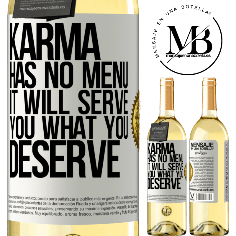 24,95 € Free Shipping   White Wine WHITE Edition Karma has no menu. It will serve you what you deserve White Label. Customizable label Young wine Harvest 2020 Verdejo