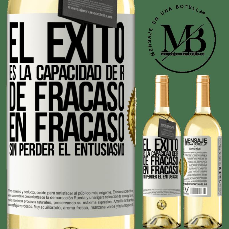 24,95 € Envoi gratuit | Vin blanc Édition WHITE Le succès est la capacité de passer d'échec en échec sans perdre son enthousiasme Étiquette Blanche. Étiquette personnalisable Vin jeune Récolte 2020 Verdejo