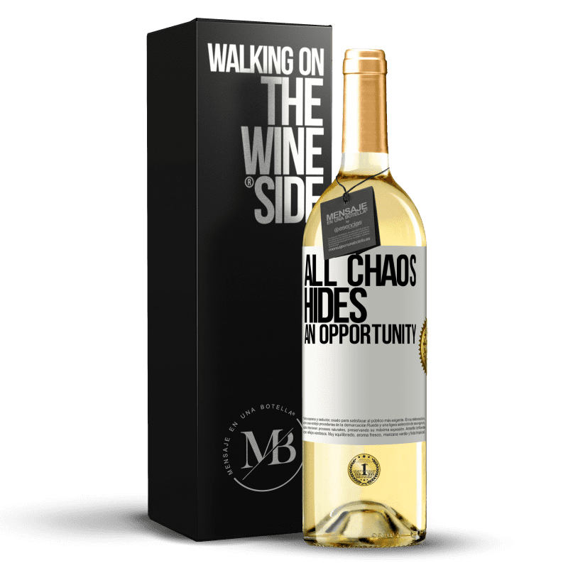 24,95 € Free Shipping   White Wine WHITE Edition All chaos hides an opportunity White Label. Customizable label Young wine Harvest 2020 Verdejo