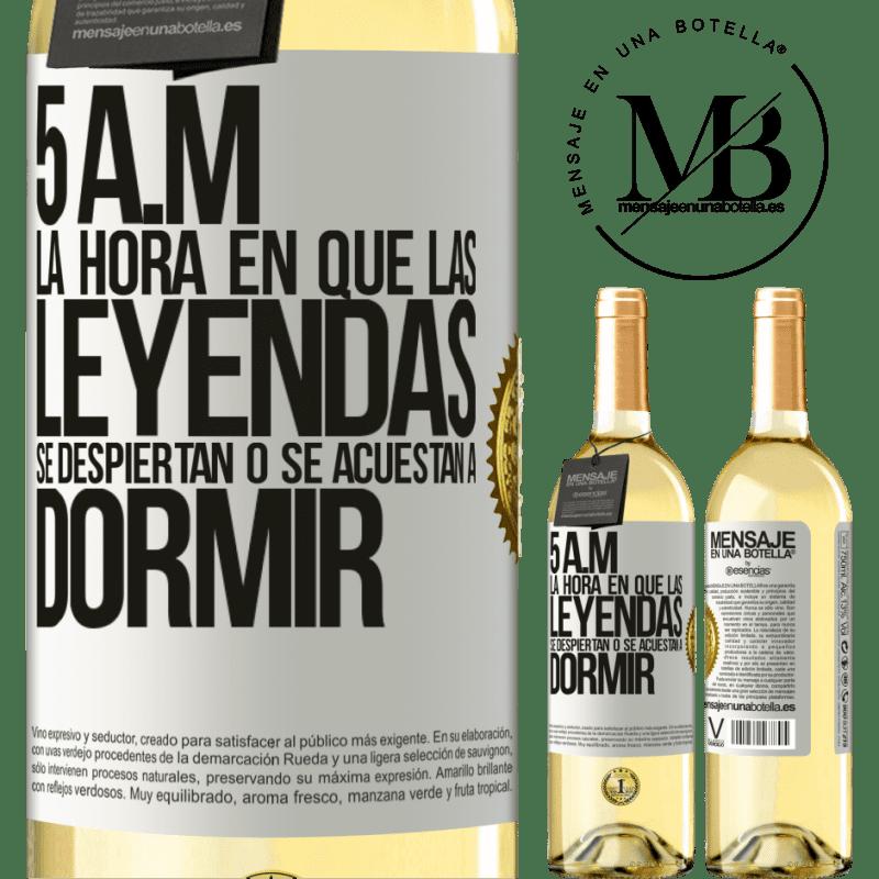 24,95 € Envoi gratuit | Vin blanc Édition WHITE 5 heures du matin Le moment où les légendes se réveillent ou se couchent Étiquette Blanche. Étiquette personnalisable Vin jeune Récolte 2020 Verdejo