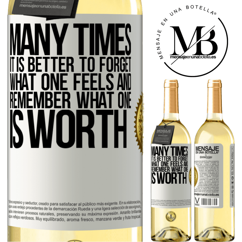 24,95 € Free Shipping | White Wine WHITE Edition Many times it is better to forget what one feels and remember what one is worth White Label. Customizable label Young wine Harvest 2020 Verdejo
