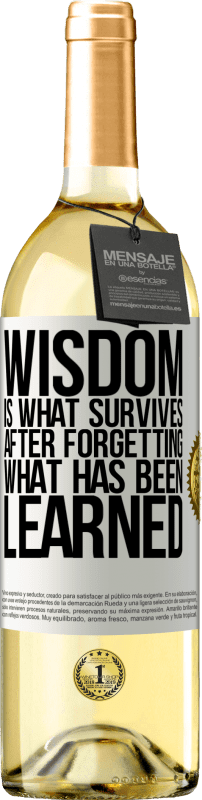 24,95 € Free Shipping | White Wine WHITE Edition Wisdom is what survives after forgetting what has been learned White Label. Customizable label Young wine Harvest 2020 Verdejo