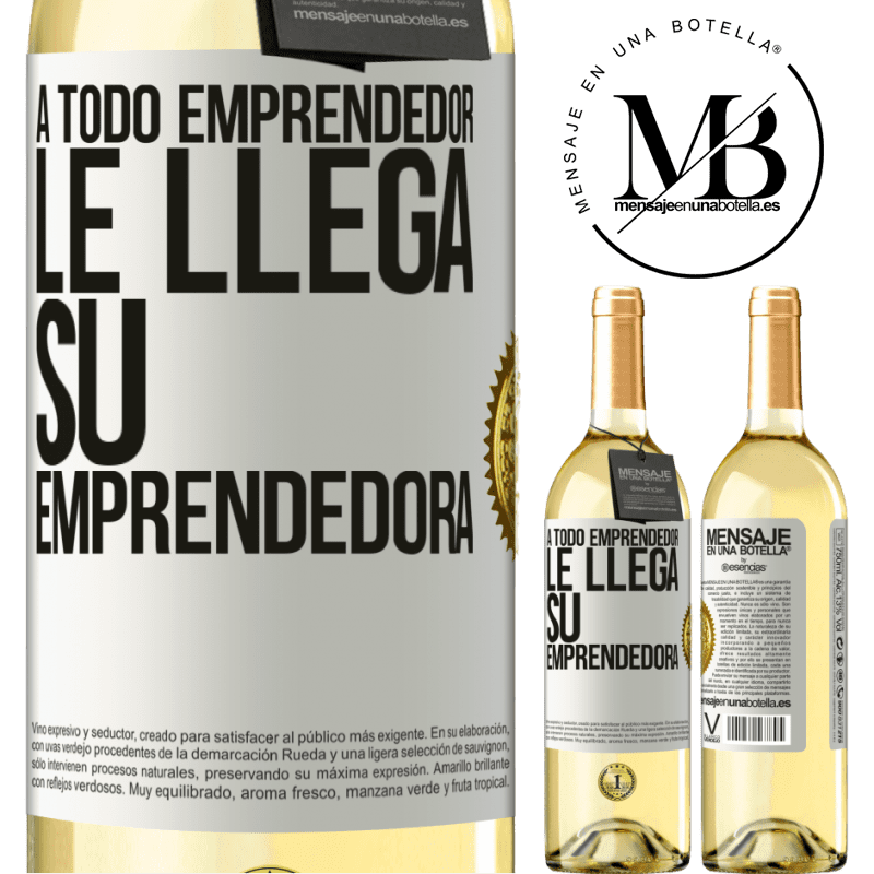 24,95 € Envío gratis | Vino Blanco Edición WHITE A todo emprendedor le llega su emprendedora Etiqueta Blanca. Etiqueta personalizable Vino joven Cosecha 2020 Verdejo