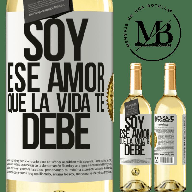 24,95 € Envoi gratuit | Vin blanc Édition WHITE Je suis cet amour que la vie te doit Étiquette Blanche. Étiquette personnalisable Vin jeune Récolte 2020 Verdejo
