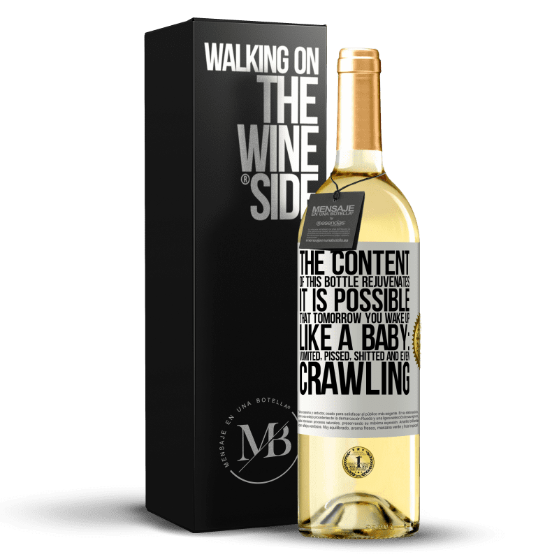 24,95 € Free Shipping | White Wine WHITE Edition The content of this bottle rejuvenates. It is possible that tomorrow you wake up like a baby: vomited, pissed, shitted and White Label. Customizable label Young wine Harvest 2020 Verdejo