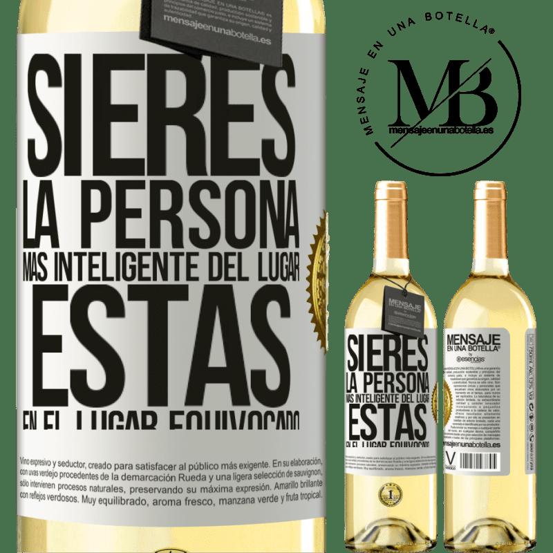 24,95 € Envoi gratuit | Vin blanc Édition WHITE Si vous êtes la personne la plus intelligente de l'endroit, vous êtes au mauvais endroit Étiquette Blanche. Étiquette personnalisable Vin jeune Récolte 2020 Verdejo