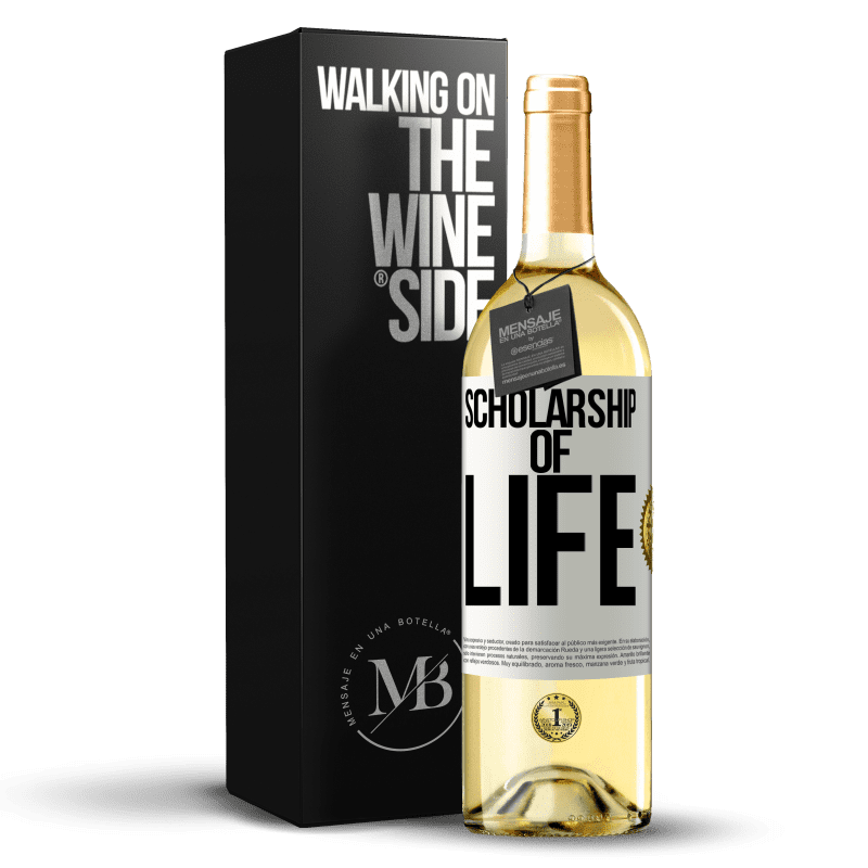 24,95 € Free Shipping | White Wine WHITE Edition Scholarship of life White Label. Customizable label Young wine Harvest 2020 Verdejo