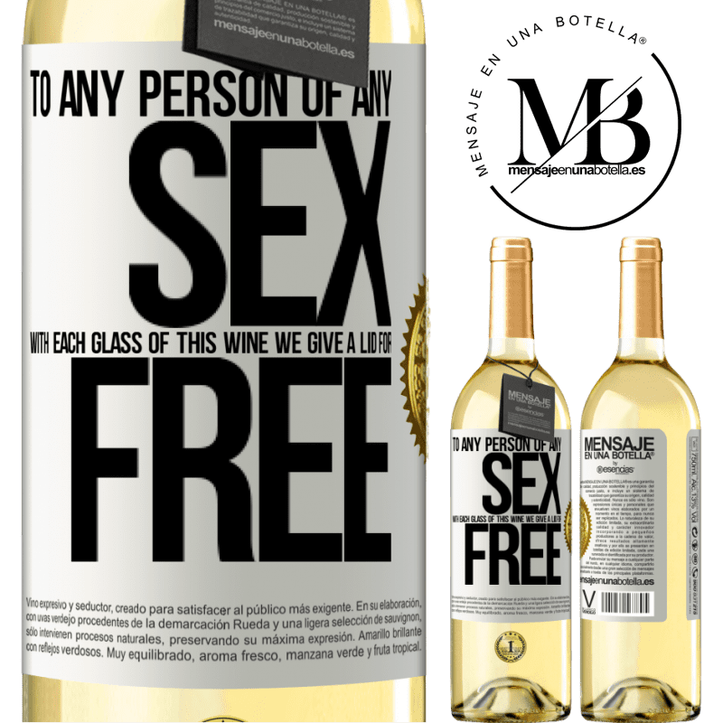24,95 € Free Shipping | White Wine WHITE Edition To any person of any SEX with each glass of this wine we give a lid for FREE White Label. Customizable label Young wine Harvest 2020 Verdejo