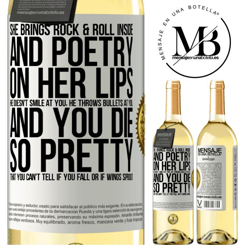24,95 € Free Shipping | White Wine WHITE Edition She brings Rock & Roll inside and poetry on her lips. He doesn't smile at you, he throws bullets at you, and you die so White Label. Customizable label Young wine Harvest 2020 Verdejo