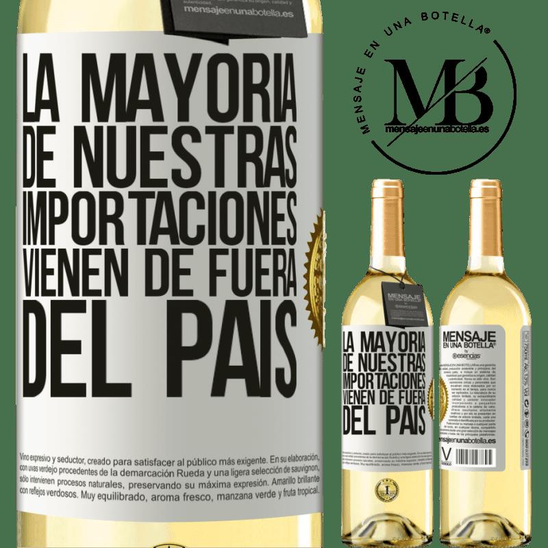 24,95 € Envío gratis | Vino Blanco Edición WHITE La mayoría de nuestras importaciones vienen de fuera del país Etiqueta Blanca. Etiqueta personalizable Vino joven Cosecha 2020 Verdejo