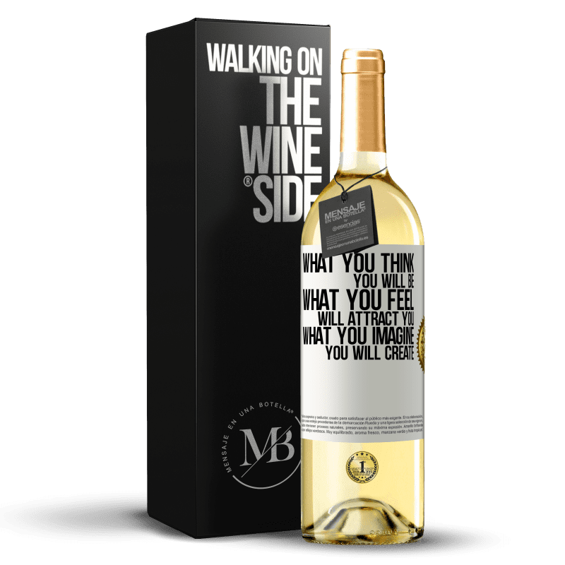 24,95 € Free Shipping   White Wine WHITE Edition What you think you will be, what you feel will attract you, what you imagine you will create White Label. Customizable label Young wine Harvest 2020 Verdejo