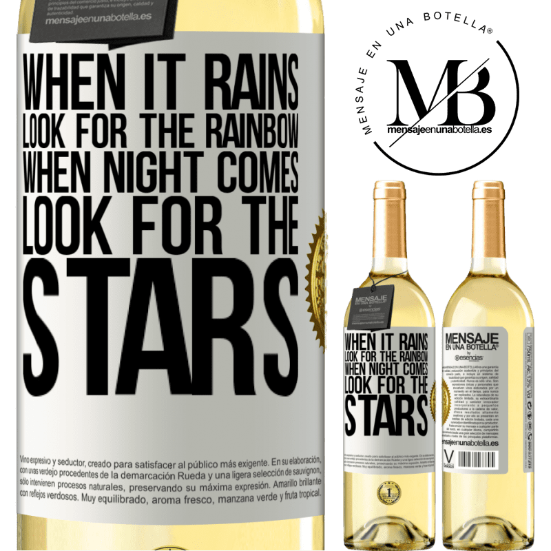 24,95 € Free Shipping | White Wine WHITE Edition When it rains, look for the rainbow, when night comes, look for the stars White Label. Customizable label Young wine Harvest 2020 Verdejo