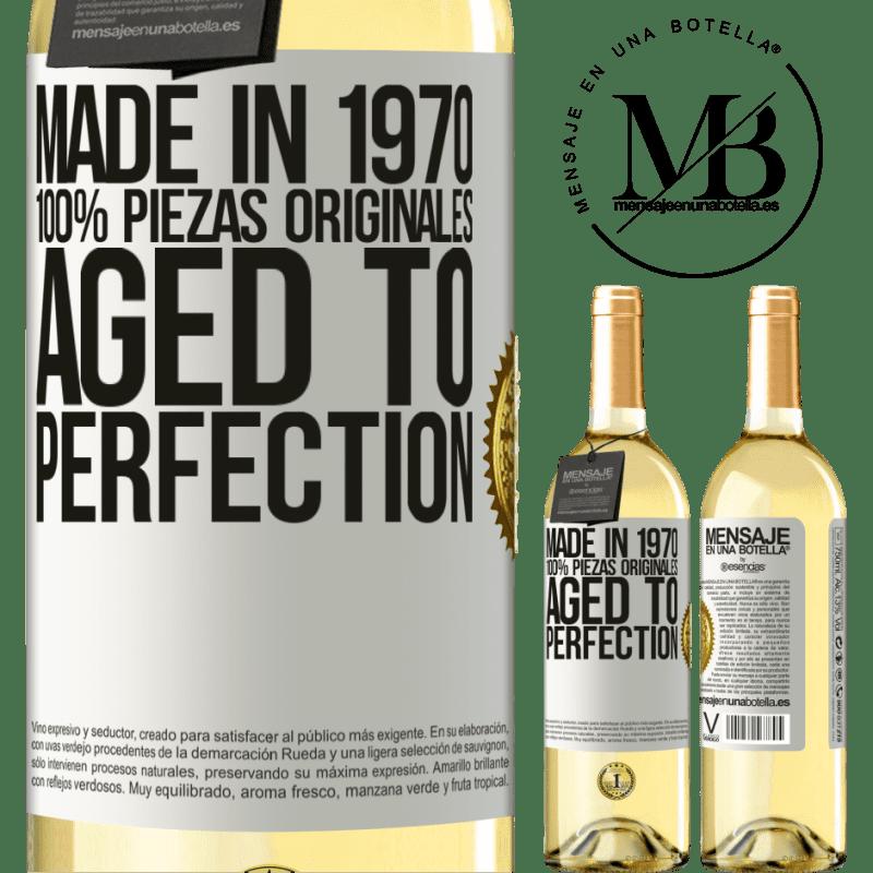 24,95 € Envío gratis | Vino Blanco Edición WHITE Made in 1970, 100% piezas originales. Aged to perfection Etiqueta Blanca. Etiqueta personalizable Vino joven Cosecha 2020 Verdejo