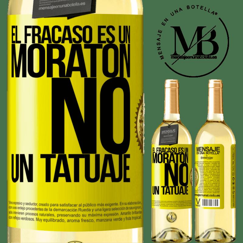 24,95 € Envoi gratuit   Vin blanc Édition WHITE L'échec est une ecchymose, pas un tatouage Étiquette Jaune. Étiquette personnalisable Vin jeune Récolte 2020 Verdejo