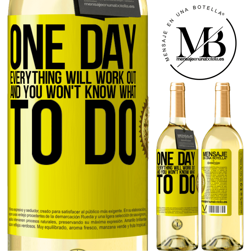 24,95 € Free Shipping   White Wine WHITE Edition One day everything will work out and you won't know what to do Yellow Label. Customizable label Young wine Harvest 2020 Verdejo