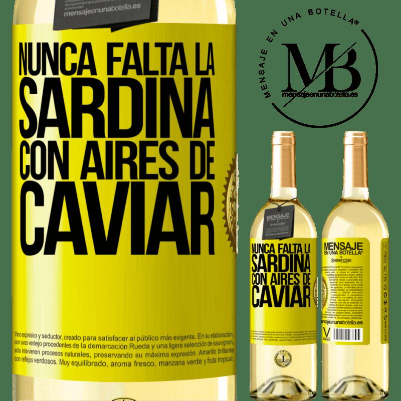 24,95 € Envoi gratuit | Vin blanc Édition WHITE La sardine ne manque jamais à l'air de caviar Étiquette Jaune. Étiquette personnalisable Vin jeune Récolte 2020 Verdejo