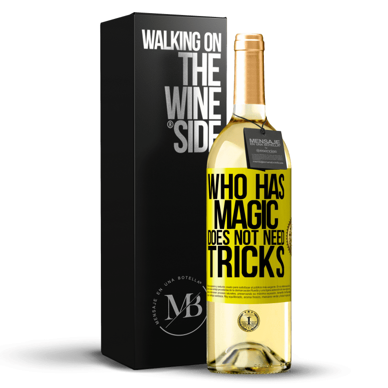 24,95 € Free Shipping | White Wine WHITE Edition Who has magic does not need tricks Yellow Label. Customizable label Young wine Harvest 2020 Verdejo