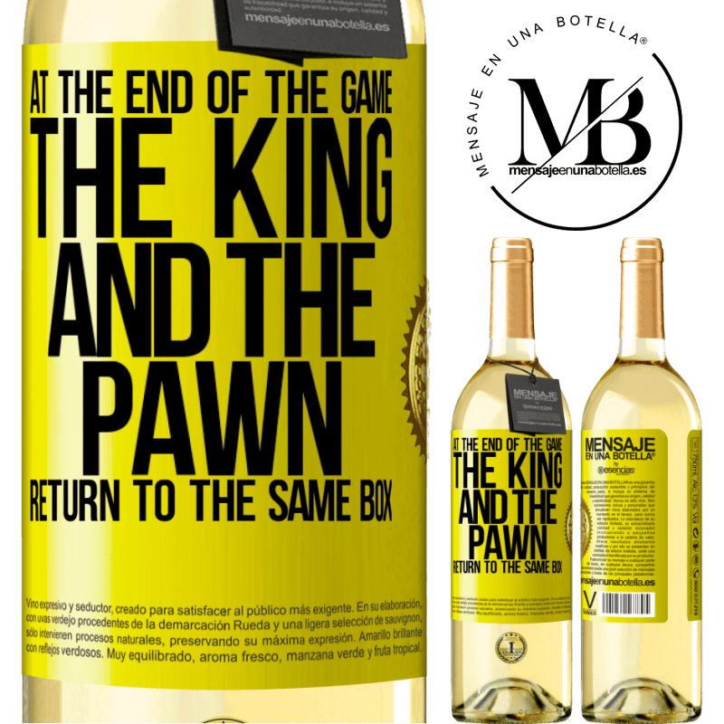 24,95 € Free Shipping   White Wine WHITE Edition At the end of the game, the king and the pawn return to the same box Yellow Label. Customizable label Young wine Harvest 2020 Verdejo