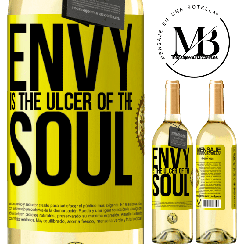 24,95 € Free Shipping | White Wine WHITE Edition Envy is the ulcer of the soul Yellow Label. Customizable label Young wine Harvest 2020 Verdejo