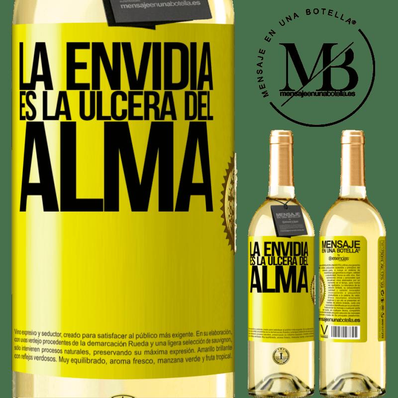 24,95 € Envío gratis | Vino Blanco Edición WHITE La envidia es la úlcera del alma Etiqueta Amarilla. Etiqueta personalizable Vino joven Cosecha 2020 Verdejo